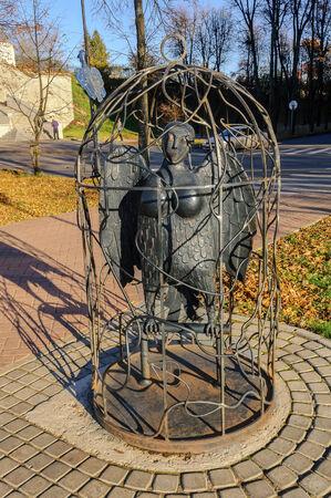 veliky: VELIKY NOVGOROD, RUSSIA, OCTOBER 20. The city sculpture Bird Sirin on October 20, 2014. Editorial