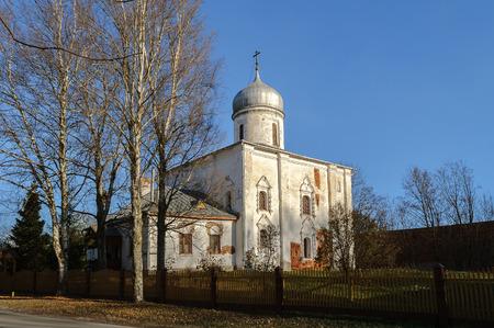believers: Ancient church of the Nativity of the Virgin on Mihalitsa street in Veliky Novgorod