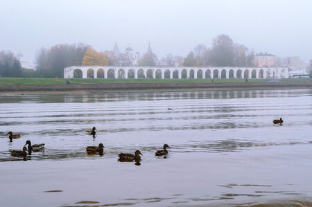 drakes: Arcade of the ancient trades in the fog, Veliky Novgorod