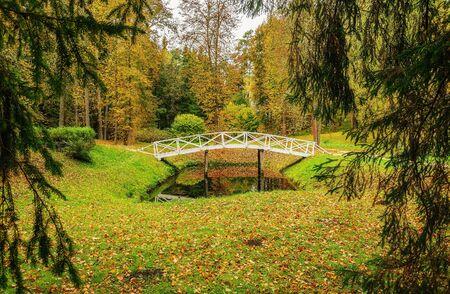 gory: PUSHKINSKIYE GORY, RUSSIA, SEPTEMBER 28.  White wooden bridge in a park in the museum-estate Mikhailovskoye on September 28, 2013. Editorial
