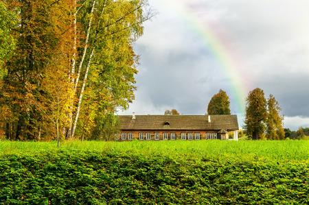 gory: PUSHKINSKIYE GORY, RUSSIA - SEPTEMBER 28.  Museum-Estate Trigorskoye on September 28, 2013.