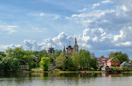 Trinity Cathedral at Lake Seliger in Ostashkov, Russia Stock fotó