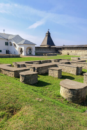 chrome base: View of the Decrees chambers and Vlasyevsky tower, Pskov Krom, Russia