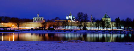 Night cityscape of  the Novgorod Kremlin in winter night photo