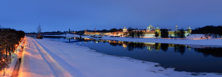 Night cityscape of  the Novgorod Kremlin in winter night