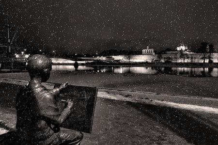 VELIKY NOVGOROD, RUSSIA - JANUARY 8. Sculpture of the drawing boy, Veliky Novgorod on January 8, 2013.