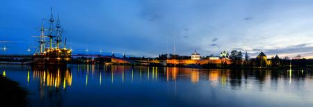 VELIKY NOVGOROD, RUSSIA - MAY 11.  Night cityscape of  the Novgorod Kremlin in summer night on May 11, 2013.