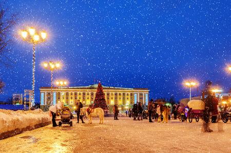 veliky: VELIKY NOVGOROD, RUSSIA - JANUARY 10. Sophias square during the New Year holidays in Veliky Novgorod on January 10, 2014.