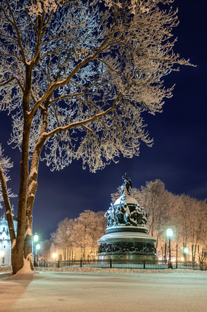millennium: The winter night landscape of  monument Millennium of Russia  in Veliky Novgorod Editorial