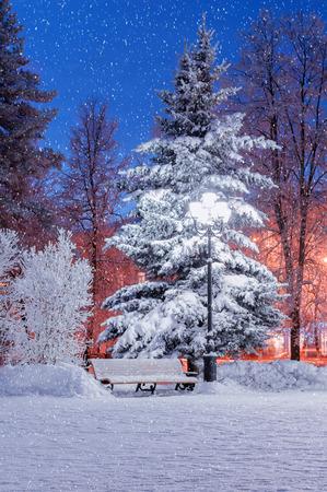 novgorod: The winter evening with falling snow Stock Photo