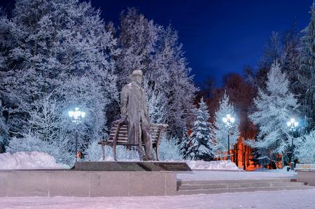 veliky: VELIKY NOVGOROD, RUSSIA - DECEMBER 30. Monument to Sergei Rachmaninoff in Veliky Novgorod  on December 30, 2014.