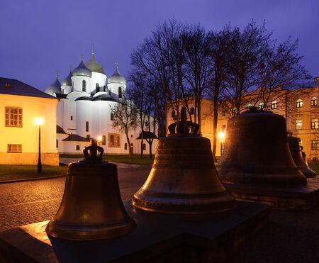 Saint Sophia Cathedral in Veliky Novgorod by night photo