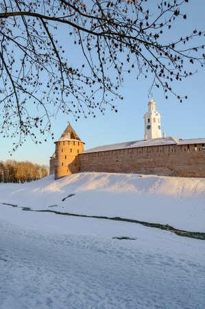 veliky: The Metropolitan Tower and chasozvonya of Novgorod Kremlin in winter at sunset