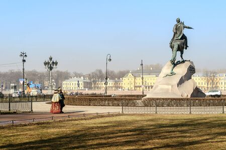 literally: SAINT-PETERSBURG, RUSSIA - MARCH 17, 2015.  The Bronze Horseman literally in Russian: Copper horseman is an equestrian statue of Peter the Great in Saint Petersburg, Russia. Editorial