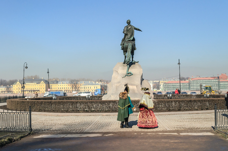 horseman: SAINT-PETERSBURG, RUSSIA - MARCH 17, 2015.  The Bronze Horseman literally in Russian: Copper horseman is an equestrian statue of Peter the Great in Saint Petersburg, Russia. Editorial