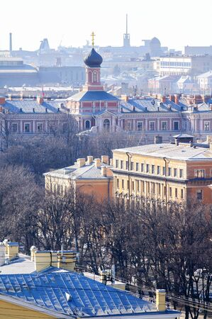 birdseye view: Panorama of St. Petersburg from birds-eye view Stock Photo
