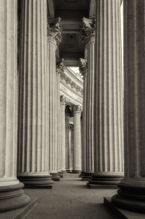 colonnade: Colonnade of the Kazan Cathedral sepia and soft focus processing