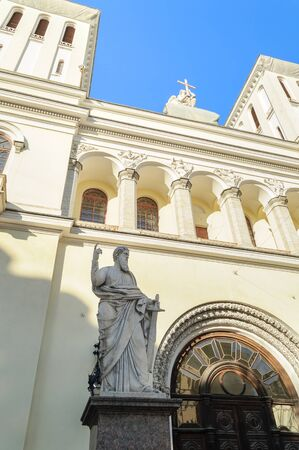 saints peter and paul: Statue of St. Paul at the entrance of the Lutheran Church of Saints Peter and Paul Church 1838 in St. Petersburg, Russia