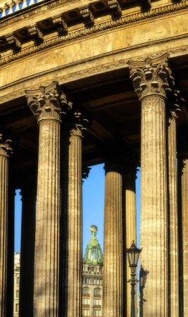 colonnade: Colonnade of the Kazan Cathedral and Singer house between columns soft focus processing Stock Photo