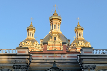 exaltation: Domes of the Holy Cross Cossack Cathedral in St. Petersburg, Russia
