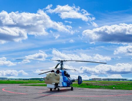 SAINT-PETERSBURG, RUSSIA - MAY 23, 2015. The Kamov Ka-32 S registration number RA-31024 helicopter of Avialift Vladivostok Aviation Company at the parking in Pulkovo airport