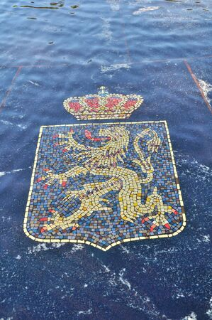 16 17: VELIKY NOVGOROD, RUSSIA - AUGUST 17, 2015. Coat of arms of Belgium, represented in the Hanseatic fountain. The fountain consists of 16 coats of arms belonging to the Hanseatic League of the New Times. Stock Photo