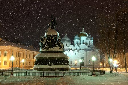 novgorod: The monument Millennium of Russia on the background of the St. Sophia Cathedral in Veliky Novgorod, Russia - winter architectural landscape
