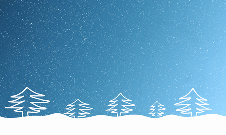 text free space: Light blue background with falling snowflakes and fur trees in the snowdrift. Free space for text. Raster illustration