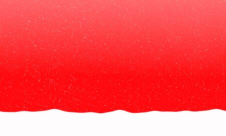 text free space: Bright red background with falling snowflakes and snowdrift. Free space for text. Raster illustration