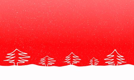 snowdrift: Bright red background with falling snowflakes and fur trees in the snowdrift. Free space for text. Raster illustration