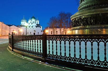 veliky: St. Sophia Cathedral and the monument Millennium of Russia on the foreground in Veliky Novgorod, Russia.
