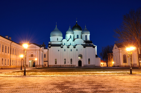 christmas church: Saint Sophia Orthodox Cathedral in Novgorod Veliky, Russia, in winter night
