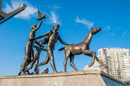 ST PETERSBURG,RUSSIA-OCTOBER 3, 2016. Sculpture Running children near the Pionerskaya metro station in St Petersburg, Russia. Closeup view to sculptural St Petersburg landmark