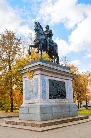 peter the great: SAINT PETERSBURG, RUSSIA-OCTOBER 3, 2016. The Monument to Peter I, bronze equestrian monument of Peter the Great in front of the St. Michaels Castle in Saint Petersburg, Russia