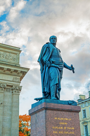 ST PETERSBURG, RUSSIA-OCTOBER 3,2016.Monument to Field Marshal Prince Barclay de Tolly -Minister of War during Napoleons invasion in 1812 on the background of Kazan Cathedral in St Petersburg, Russia
