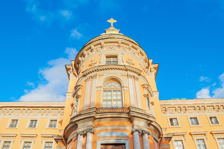 St Michael Castle or Engineer Castle in St Petersburg, Russia - the western facade of the castle church with a protruding apse. Architecture landmark of St Petersburg, Russia