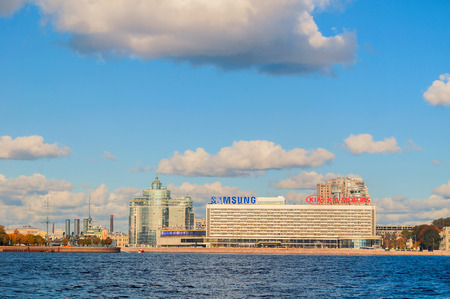 samsung: ST PETERSBURG,RUSSIA-OCTOBER 3, 2016. Panorama of Pirogov embankment at Neva river - residential complex Aurora, Saint Petersburg hotel and Samsung and KIA Motors companies offices
