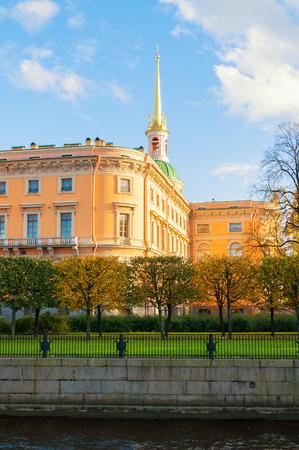 ST PETERSBURG,RUSSIA-OCTOBER 3, 2016. St Michaels Castle or Engineers Castle in St Petersburg, Russia - north side of St Petersburg landmark. Architecture autumn view of St Petersburg landmark