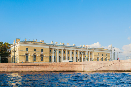 spit: ST PETERSBURG, RUSSIA - OCTOBER 3, 2016. St Petersburg landmark of Vasilievsky island spit - building of Zoological Museum, former South Exchange Warehouse in St Petersburg, Russia Editorial
