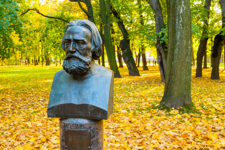 ST PETERSBURG, RUSSIA - OCTOBER 3, 2016. Bust of famous Russian artist Alexander Ivanov in Mikhailovsky Garden in St Petersburg, Russia. A. Ivanov painted canvases of biblical and mythological stories