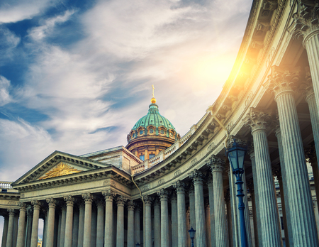 Kazan Cathedral in St Petersburg, Russia. Dome and colonnade of Kazan Cathedral in St Petersburg, Russia under evening sunshine. Soft filter applied. Architecture landscape of St Petersburg landmark
