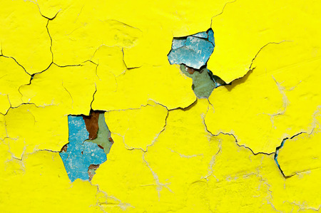 Texture background of bright yellow nad blue peeling paint on the old rough surface - texture background with chipped grunge paint on the texture wall