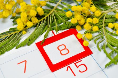 Carte du 8 mars - fleurs de mimosa sur le calendrier avec date encadrée 8 mars