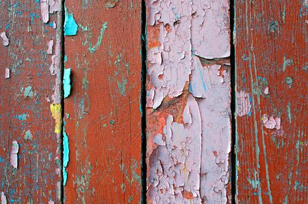 Texture wooden background of old wooden planks with peeling paint
