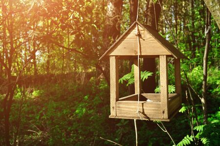 ahorcada: Wooden handmade bird feeder in form of little house hanged on the rope in the forest