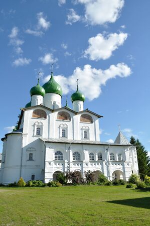 St Nicholas cathedral in Nicholas Vyazhischsky stauropegic monastery, Veliky Novgorod, Russia, architecture view in summer day Stock Photo