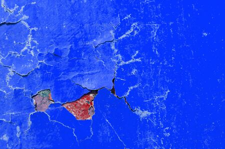 beton: Texture background of blue and red peeling paint Stock Photo