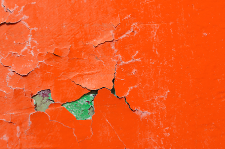 Texture background of orange and green peeling paint Stock Photo