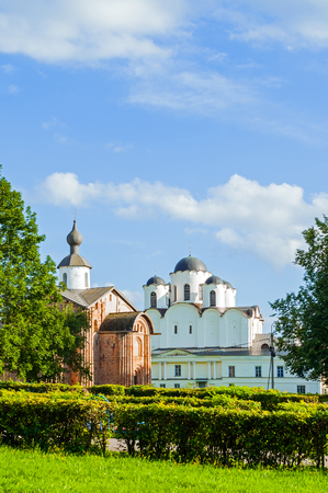Paraskeva Pyatnitsa church and St Nicholas cathedral at Yaroslav Courtyard in Veliky Novgorod, Russia - architecture view of Russian landmarks