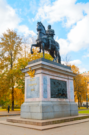 SAINT PETERSBURG, RUSSIA-OCTOBER 3, 2016. The Monument to Peter I, bronze equestrian monument of Peter the Great in front of the St Michaels Castle in Saint Petersburg, Russia Editorial